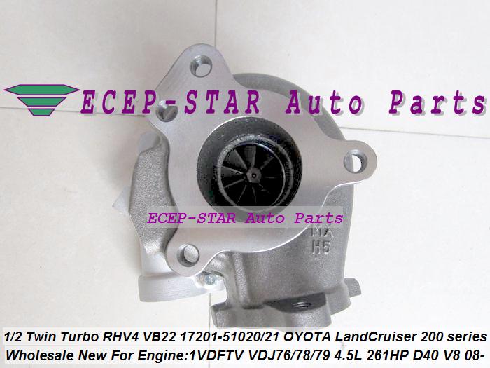 1pc Twin Turbo RHV4 VB22 17201-51020 17201-51021 Turbo For TOYOTA Land Cruiser 200 series D-40 V8 1VD-FTV VDJ76 VDJ78 VDJ79 4.5L