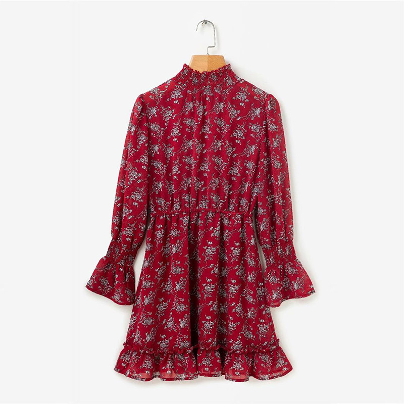 yinlinhe Green Floral Chiffon Dress Women Long Sleeve Turtleneck Autumn Dress Elasticity Waist Slim Elegant Vestido 8