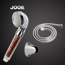 JOOE ABS Chrome Large Anion Health Care Shower Head Negative Ion Water Shower Filter+1.5m Shower Hose+Shower Holder
