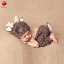 Newborn crochet baby costume photography props Deer knitbaby hat bow infant baby photo props new born baby girls boys outfits