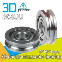 Buy Free wholesale 10pcs / lot 3D printer accessories bearing U-groove pulley bearing guide wheel extruder dedicated 604UU for $9.22 in AliExpress store