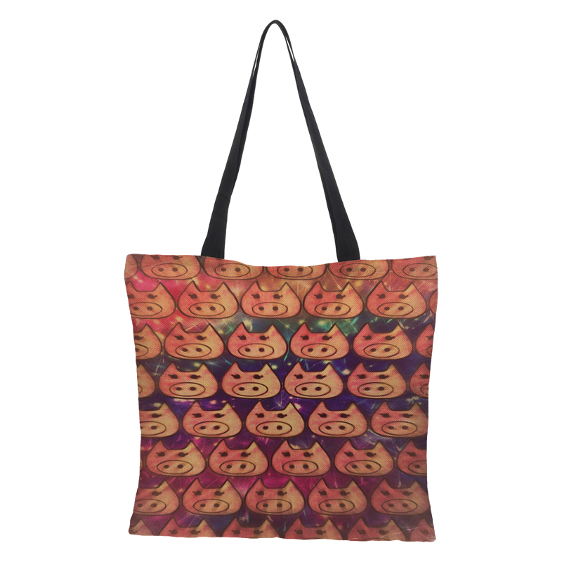 d77a9c66bbc6 CROWDALE Double-sided Cates Painted Bag Women Large Linen Shopping ...