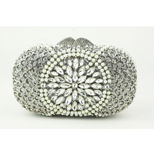 Luxury Crystal Clutch Bags UK Hot Sale Pillow-shaped White Pearl Clutch Handbags for Cheap Women Crystal Evening Bag with Chain
