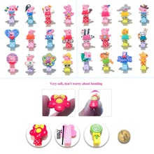 12pcs Lovely Pig Cartoon PVC Colorful Hairpins Hairbands Well Protect Hair Care Clips Dot Printing Cloth Wrapped Accessories(China)