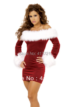 ML8017 Sexy Sweetheart Miss Santa Dress Free Shipping M/L/XL/XXL Off Shoulder White Red Sexy Adult Women Christmas Costumes