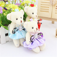 Hot sale 12cm bear Teddy  plush stuffed toys small bears for cartoon bouquet packaging christmas Promotion Gifts 12pcs/lot