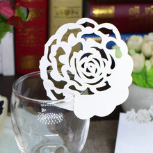 Fan Laser Cut Wedding Decor 50Pcs Place Name Cards Decorative Crafts Table Goblet Favors Birthday Party Events Supplies Heart