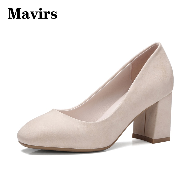 MAVIRS Newest Womans High heels pumps Big Size 32-42 Causal Dress Office Shoes Round toe Slip on middle heeled shoes women Blue<br>