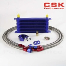 FREE SHIPPING universal 10 Row modified car oil cooler kit  radiator