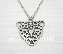 "Free Shipping 12 strands Fashion panther leopard head Necklace pendant 18"",sweater chain Animal Wholesales"
