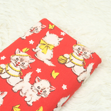 1 meter plain cotton little cat print fabric with red bottom, handmade DIY patchwork bag pure cotton garment cloth CR-A102