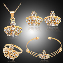 Charm Crow Pendant Necklace For Women Bridal Jewelry Set Cz Crystal Earrings Rings Bangle 4PCS Wedding Sets Accessories(China)