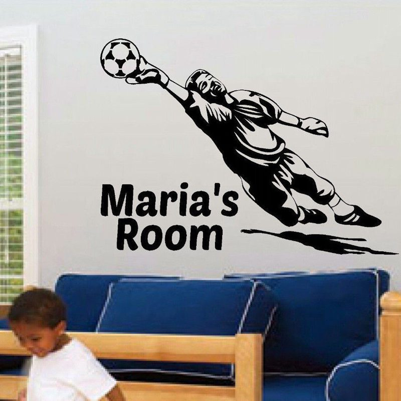 Football Sticker Name Soccer Decal Kids Room Name Posters Vinyl Wall Decals Car Parede Decor Mural Football Sticker