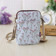 Canvas floral printing women's organizer wallets small coin purses female phone money pouches carteiras femininas for girls boys