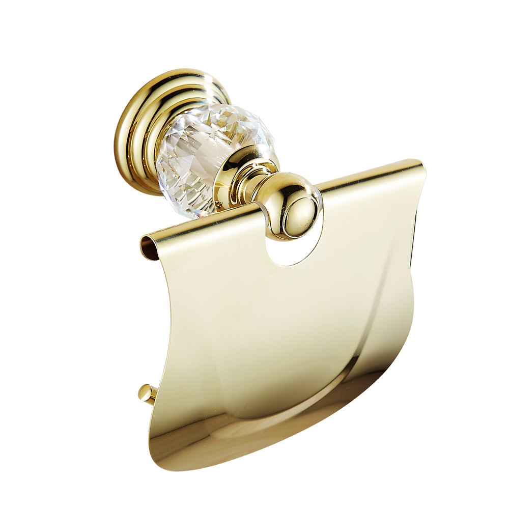 Antique Crystal Diamond Tissue Box Polished Brass Toilet Paper Holder Roll Holder Bathroom Accessories Products Hg01<br>