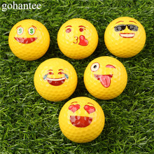 gohantee 3Pcs Funny Emoji Faces Golf Balls Novelty Golf Practice Balls Lovely Face Pattern Golf Balls for Kids Beginner Training(China)
