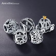 ANFASNI Genuine 100% 925 Sterling Silver Openwork Princess Pumpkin Dragonfly Meadow Charms Fit Pandora Charm Bracelet PSMB0212