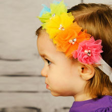 1PC Lovely Girl Sweet Flowers Headband Lace Pearl Hairband Rainbow Hair Bands Kids Tiara Hair Accessories