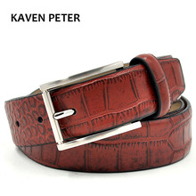 Crocodile Belt Men Genuine Leather Fashion Accessories Luxury Cowskin Crocodile Pattern Belts Red Brown Buckles metal(China)