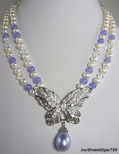 Hot sale 2 Rows White Pearl Purple * Crystal Butterfly Pendant Necklace