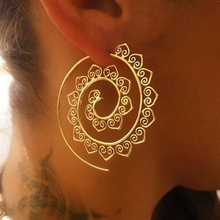 2017 Steampunk Round Swirl Hoop Earring for Women Gold Silver Tone Big Circle Earrings Party Accessories Ethnic Jewelry