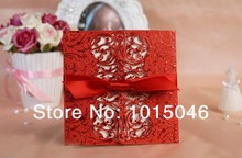 Free Shipping 20X Red Laser Cut Wedding Invitation Card Customized With Envelope Ideas Blank Inside Wedding Gift