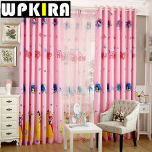 Pink Cartoon Princess Crown Pattern Kids Bedroom Curtain Panels Baby Girls Living Room Curtain Semi Shade Curtain Cloth -3