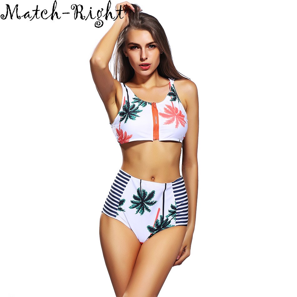 Womens Swimming Suit Women Swimsuit High Waist Swimwear Zipper Bikini Set Summer Bikinis Print Bathing Suit for Women Suit 1583<br><br>Aliexpress