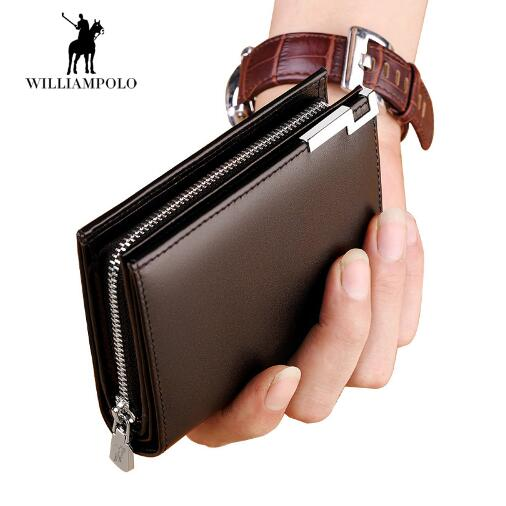 Williampolo 2018 Wallet Men 100% Italy Genuine Leather Short Wallet Vintage Cow Leather Casual Men Wallet Purse Standard Hol<br>