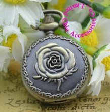 wholesale pocket watch buyer good quality fashion fob watches girl lady retro vintage bronze mini rose flower necklace hour(China)