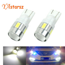2016 New update 4 colors T10 LED 1 PCS Auto Car Light Bulb 5730 SMD 6 LED W5W 12V Interior Parking Projector Lens Free Shipping(China)