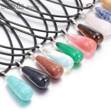 0500 New Arrivals Natural Crystal Agate Stone Pendant Raindrop Necklace pendant For women Leather necklace