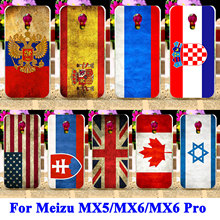 Soft TPU Hard PC Covers For Meizu MX5 Mx 5/MX6/MX6 Pro 6 Pro Case Covers UK Mexico Russia Brazil National Flag Shell Hood Bags