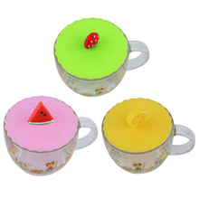 Lovely Anti-dust Silicone Fruit Glass Cup Cover Leakproof Coffee Mug Lid Cap Airtight Sealed Cup Cover ZH01728(China)