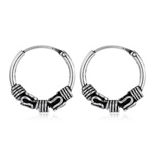 European Vintage Silver Color Hoop Earrings Circel  Handmade Punk Small Hoop Earring For Women Bijoux Bijoux Fashion Jewelry