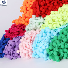 5Yards/Lot Lace Fabric 20MM Pom Pom Trim Ball Fringe Ribbons DIY Sewing Accessory Lace 20 Colors For Home Party Decoration(China)