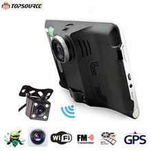 TOPSOURCE 7'' Car DVR GPS Navigation Android Radar Detector 16GB Truck vehicle gps navigator navitel/Spain map Rearview camera(China)