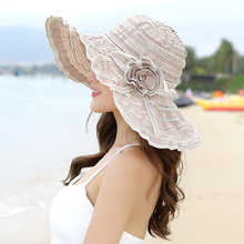 Sun-shading Hat Female Summer Sun Hat Anti-uv Beach Cap Folding Large Brim Hat Adjustable(China)