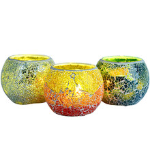 Decoration Tea Light Candle Holders European Style Glass Crafts Bar Color Mosaic Candle Holder(China)