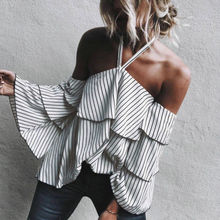 Buy New Fashion Summer Women Clothing Long Slevee Casual Ladies Loose Striped Blouse Shoulder Tops Clothes Shirt for $5.38 in AliExpress store