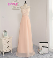 New 2017 A-line High Collar Floor Length Peach Chiffon Lace Long Bridesmaid Dresses Cheap Under 50 Wedding Party Dresses(China)