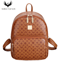 THREE FEATHER Brand Quality PU Embossing Backpack Vintage Famous Women Backpack Luxury Designer Lady's  Backpack Mochilas Mujer