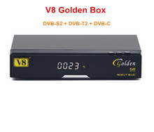 100% Genuine V8 Golden DVB-S2+T2+C Youtube Powervu IPTV HD Digital Satellite Receiver