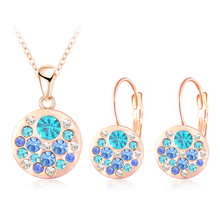 LZESHINE Hot 2017 Austrian Crystal Jewelry Set for Women Rose Gold Color Round Style Pendant/Earrings Sets parure bijoux femme(China)