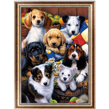 Dog Family 5D Diamond Embroidery Painting Cross Stitch DIY Craft Home Decor 40*30cm-Y102(China)