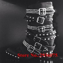Cool Punk Women Mortorcycle Boots Spikes Stud Belt Buckle Concealed Wedges Side Zip Ankle Boots Black Soft Leather Bota Feminina(China)