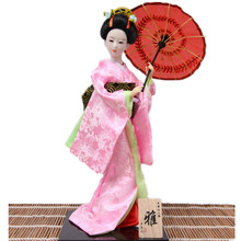 30cm Pink color Japanese Geisha Doll with umbrella home decorative crafts Gift for friend