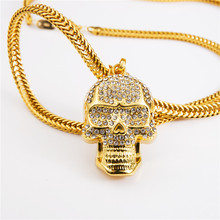 Hip Hop Mens Skeleton Necklace Skull Pendant Ice Out Gold Mens Bling Bling Chains for Men Alloy Big Necklace Rock Music Chunky