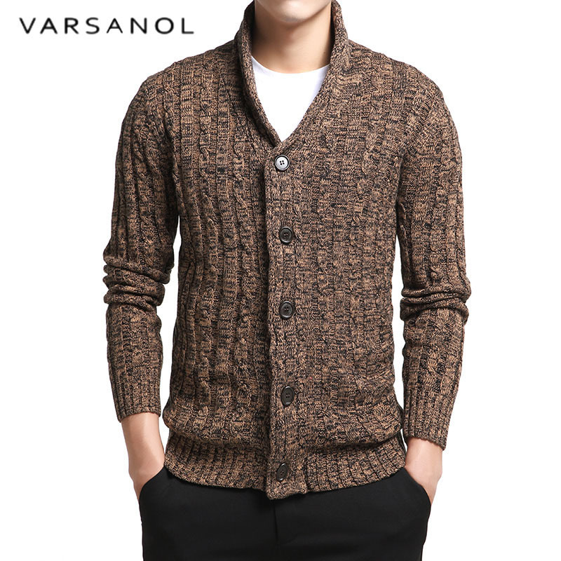 Varsanol Men's Sweater 100% Cotton Long Sleeve Cardigan Mens V-Neck Sweaters Button Fit Knitting Casual Style Clothing 2 Colors
