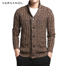 Varsanol Men's Sweater 100% Cotton Long Sleeve Cardigan Mens V-Neck Sweaters Button Fit Knitting Casual Style Clothing 2 Colors(China)